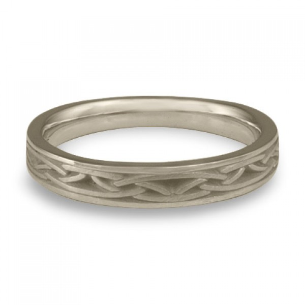 Extra Narrow Celtic Arches Wedding Ring in 14K White Gold