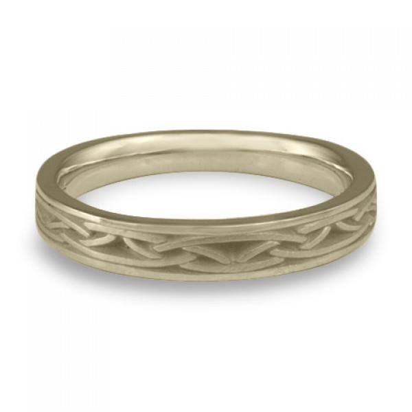 Extra Narrow Celtic Arches Wedding Ring in 18K White Gold