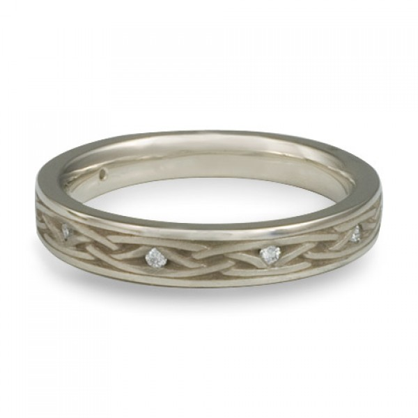 Celtic Arches Wedding Band with Diamonds in 14K White Gold