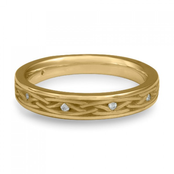 Celtic Arches Wedding Band with Diamonds in 14K Yellow Gold