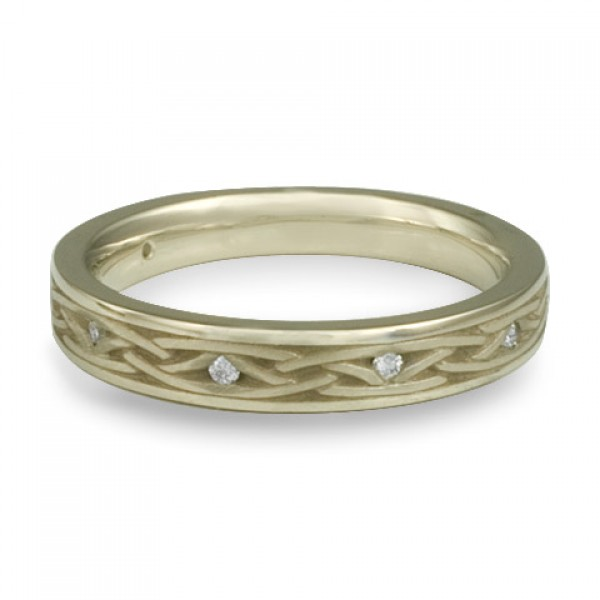 Celtic Arches Wedding Band with Diamonds in 18K White Gold