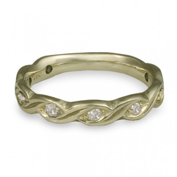 Narrow Tides with Diamonds Wedding Ring in 18K White Gold