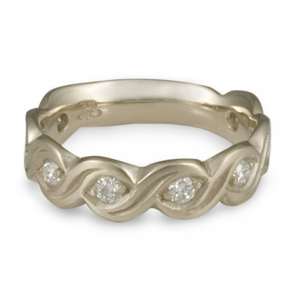 Wide Tides with Diamonds Wedding Ring in 14K White Gold