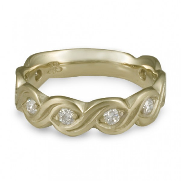 Wide Tides with Diamonds Wedding Ring in 18K White Gold