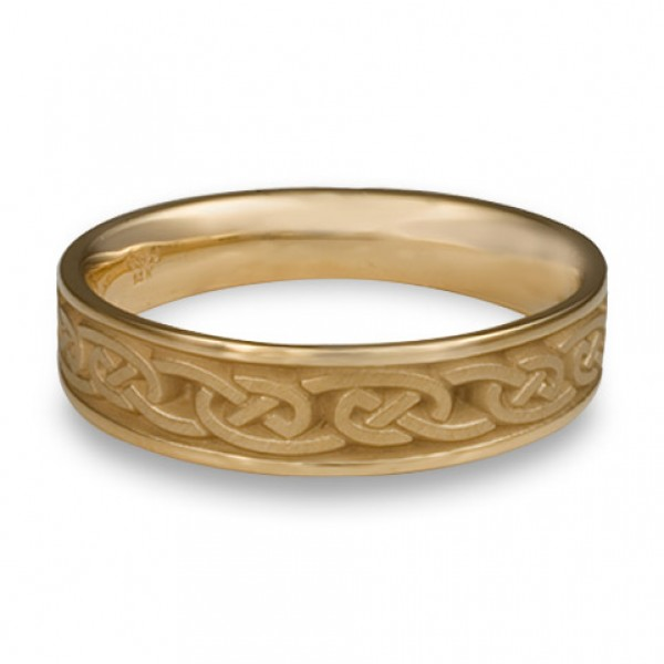 narrow cheek to cheek wedding ring in 14k yellow gold by