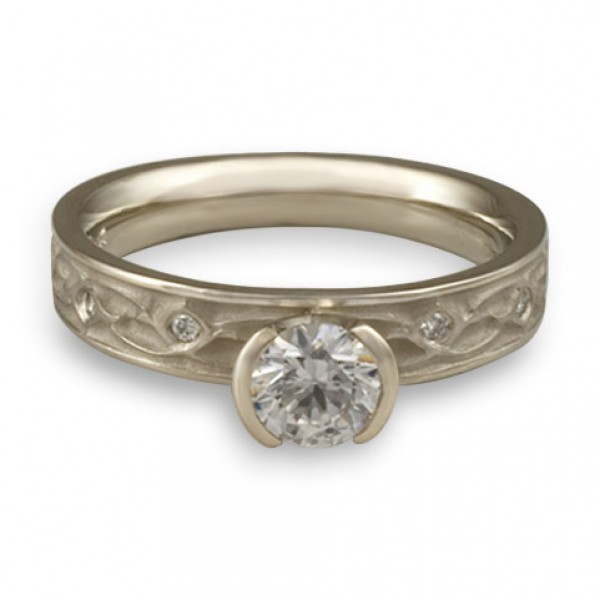 Extra Narrow Water Lilies Engagement Ring With Diamonds in 14K White Gold