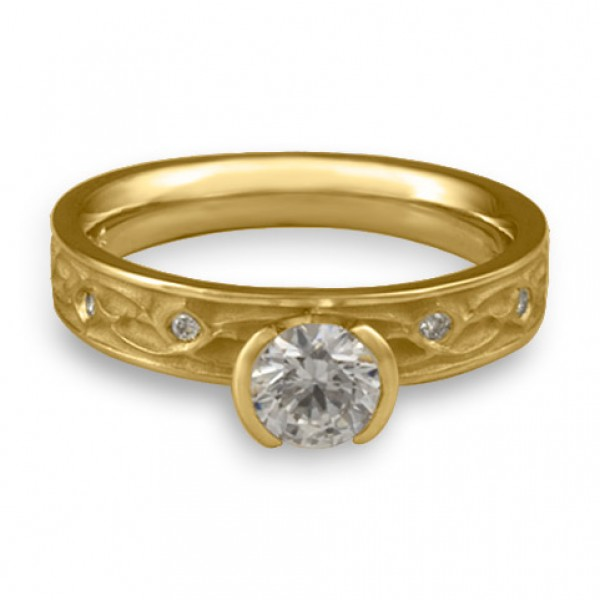 Extra Narrow Water Lilies Engagement Ring With Diamonds in 14K Yellow Gold