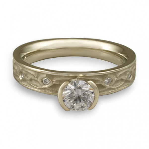 Extra Narrow Water Lilies Engagement Ring With Diamonds in 18K White Gold
