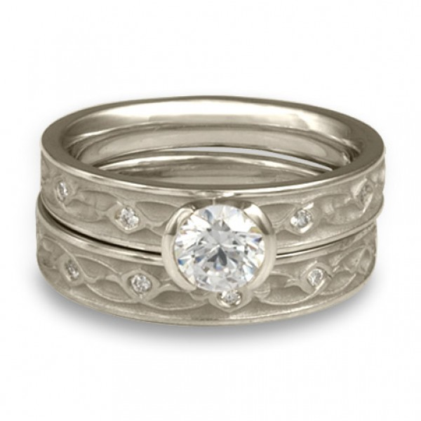 Extra Narrow Water Lilies Engagement Ring Set With Diamonds in Platinum