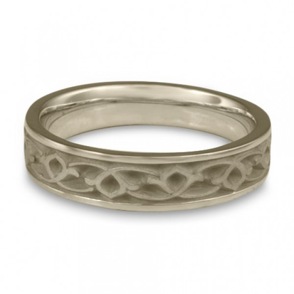 Narrow Water Lilies Wedding Ring in 18K White Gold