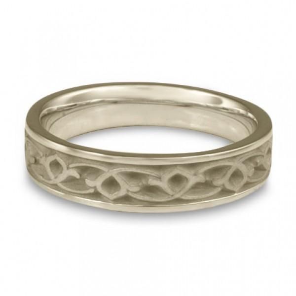 Narrow Water Lilies Wedding Ring in Platinum