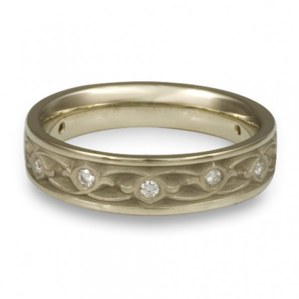 Extra Narrow Water Lilies with Diamonds Wedding Ring in 18K White Gold