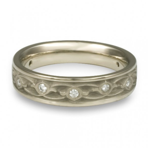 Extra Narrow Water Lilies with Diamonds Wedding Ring in Platinum