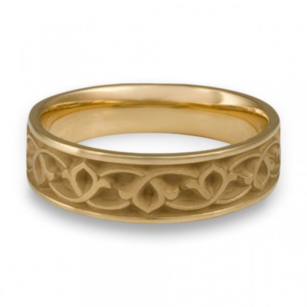 Wide Water Lilies Wedding Ring in 14K Yellow Gold