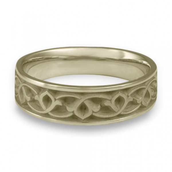 Wide Water Lilies Wedding Ring in 18K White Gold