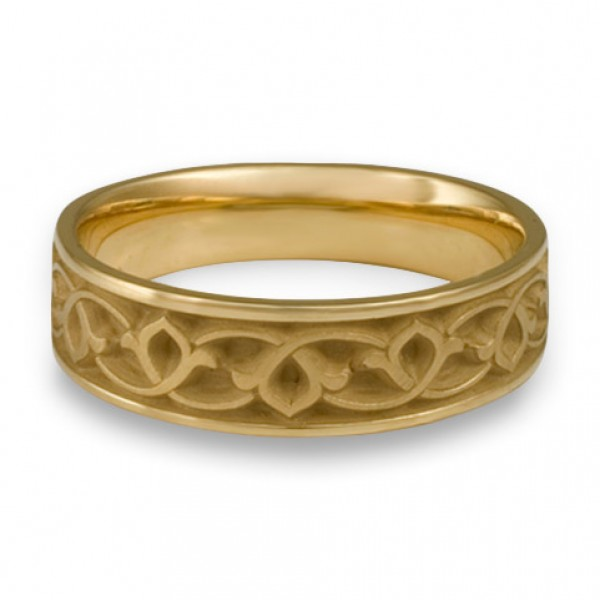 Wide Water Lilies Wedding Ring in 18K Yellow Gold