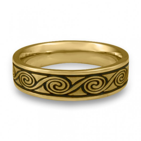 Narrow Rolling Moon Wedding Ring in 18K Yellow Gold