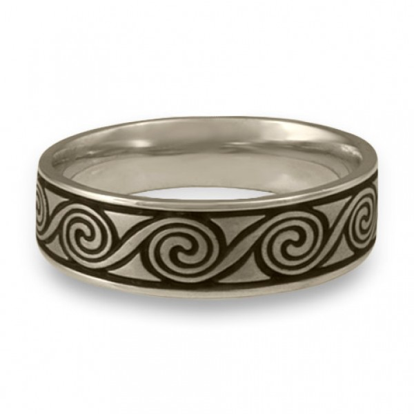 Wide Rolling Moon Wedding Ring in 14K White Gold