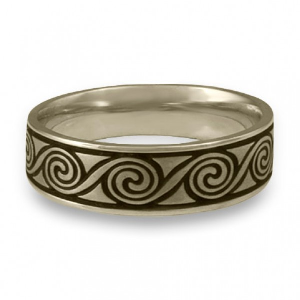 Wide Rolling Moon Wedding Ring in 18K White Gold