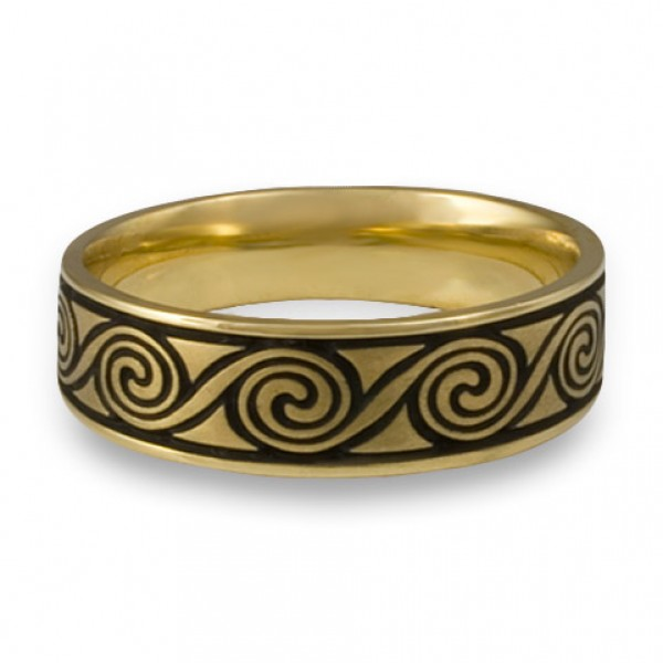 Wide Rolling Moon Wedding Ring in 18K Yellow Gold
