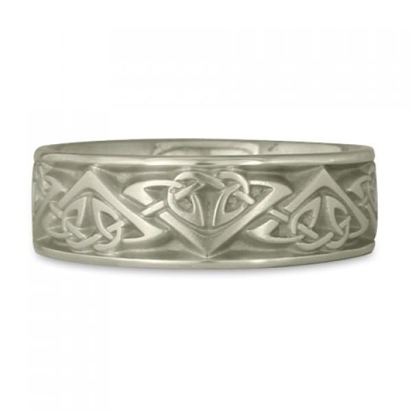 Wide Monarch Wedding Ring in 14K White Gold