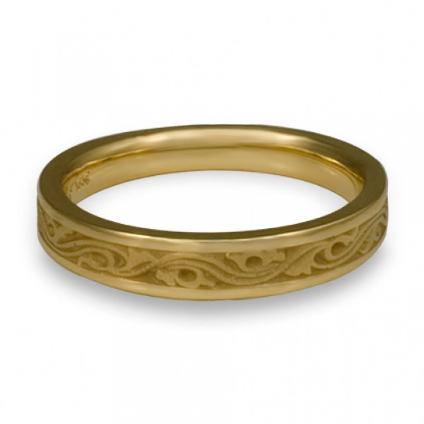 Extra Narrow Wind and Waves Wedding Ring in 18K Yellow Gold