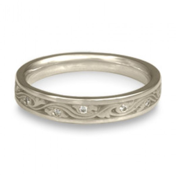 Extra Narrow Wind and Waves With Diamonds Wedding Band in Platinum