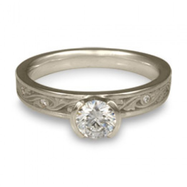 Extra Narrow Wind and Waves With Diamonds Engagement Ring in Platinum