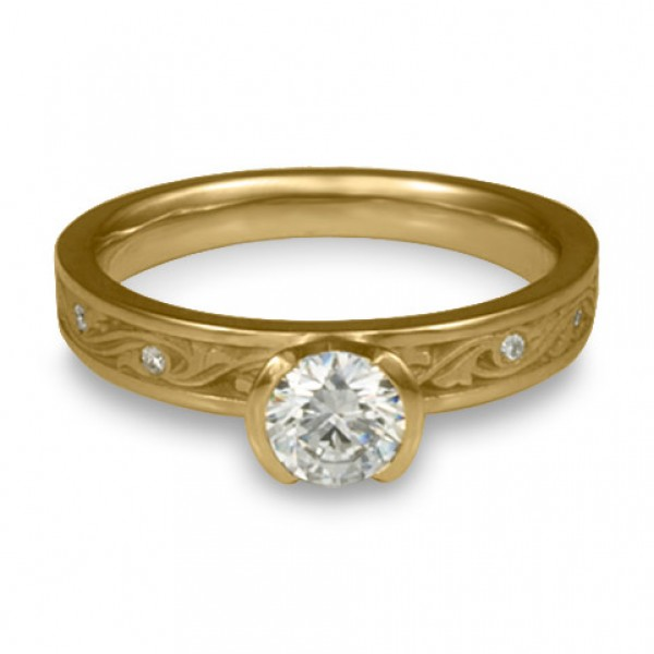 Extra Narrow Wind and Waves With Diamonds Engagement Ring in 14K Yellow Gold