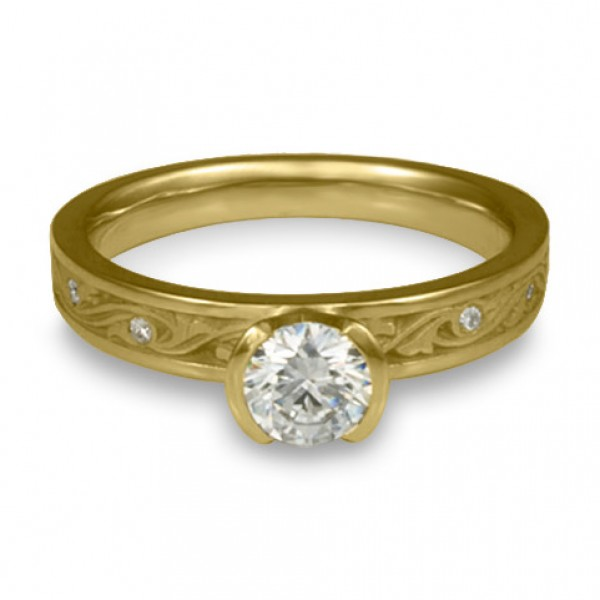 Extra Narrow Wind and Waves With Diamonds Engagement Ring in 18K Yellow Gold