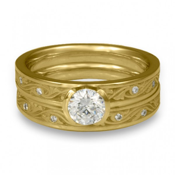Extra Narrow Wind and Waves with Diamonds Engagement Ring Set in 18K Yellow Gold
