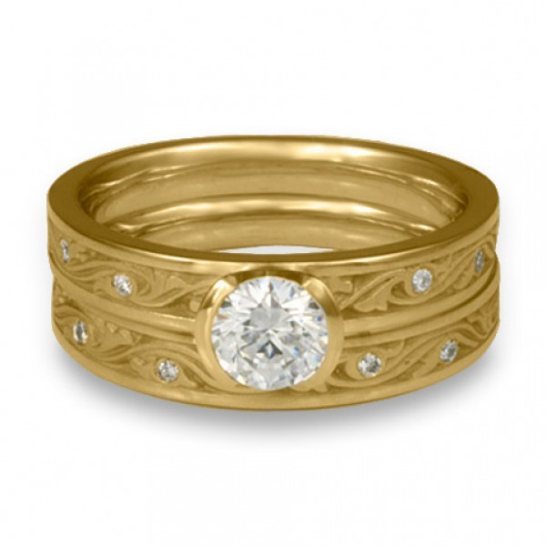 Extra Narrow Wind and Waves with Diamonds Engagement Ring Set in 14K Yellow Gold