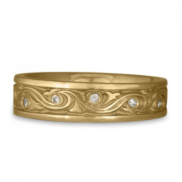 Narrow Wind and Waves With Diamonds Wedding Ring in 14K Yellow Gold