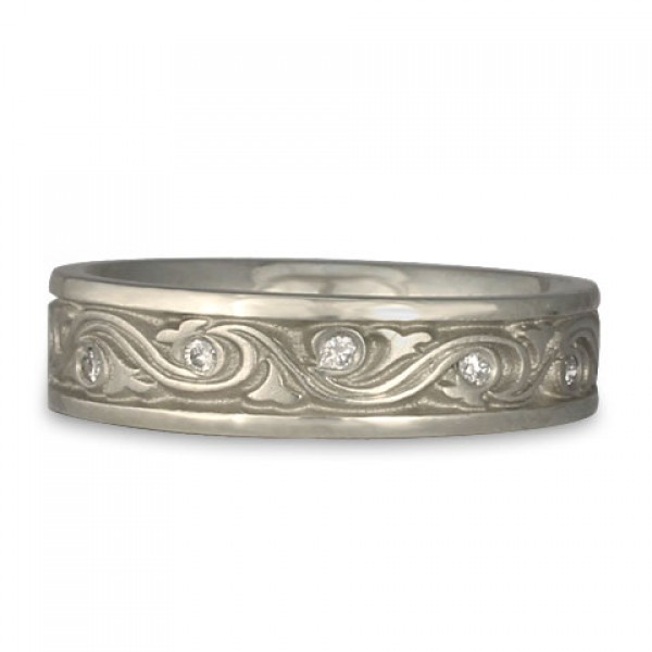 Narrow Wind and Waves With Diamonds Wedding Ring in Platinum