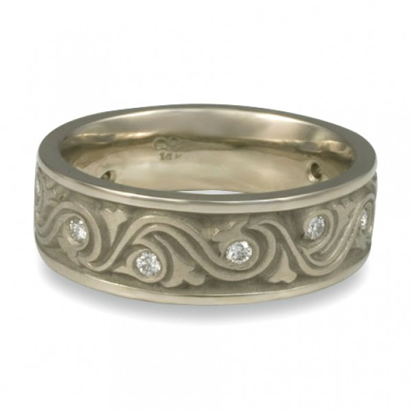 Wide Wind and Waves With Diamonds Wedding Ring in 14K White Gold
