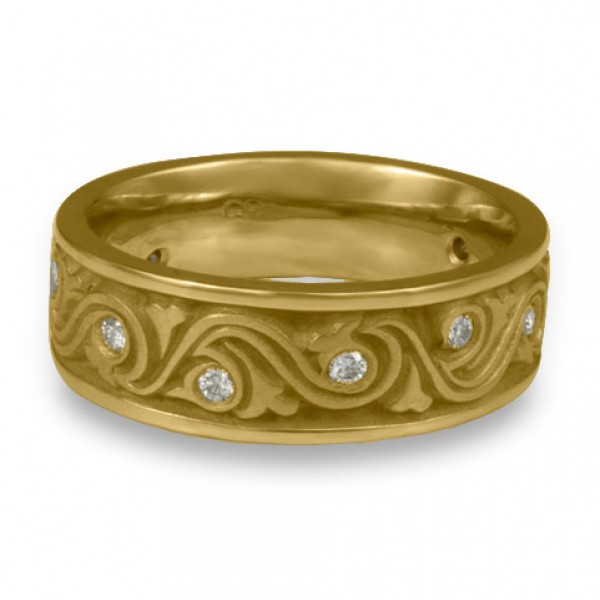 Wide Wind and Waves With Diamonds Wedding Ring in 18K Yellow Gold