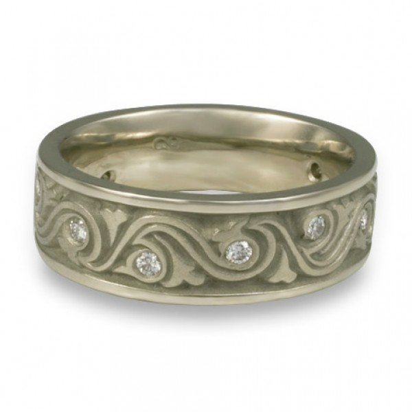 Wide Wind and Waves With Diamonds Wedding Ring in Platinum
