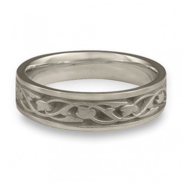 Narrow Tulips and Vines Wedding Ring in Platinum