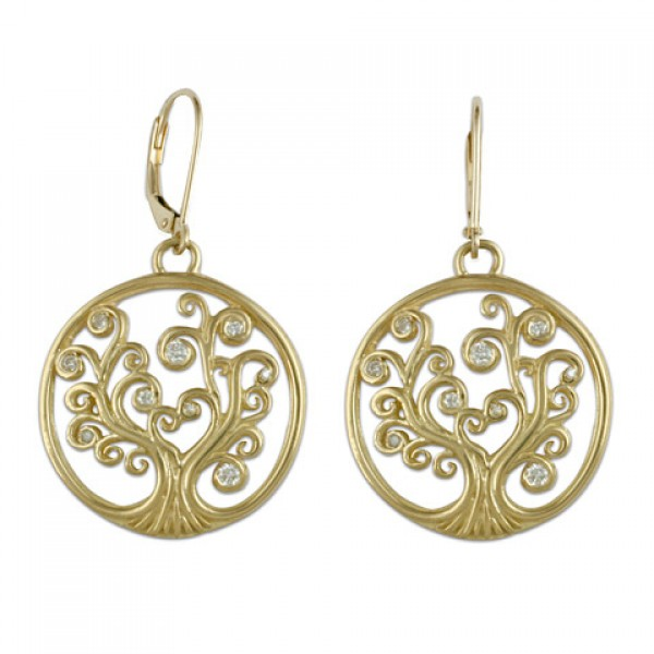 Gold with Diamonds Tree of Life Earrings