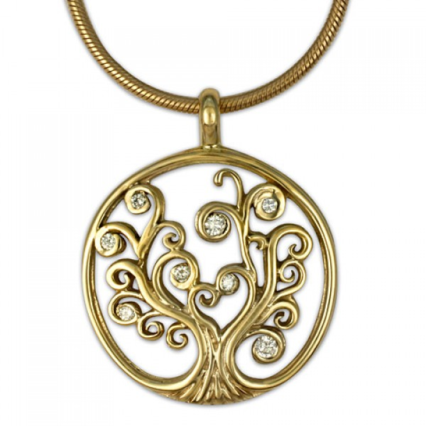 Tree of Life Small Gold Pendant 14KY with Diamonds