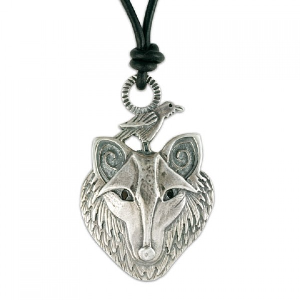 Wolf with Raven Pendant on Cord