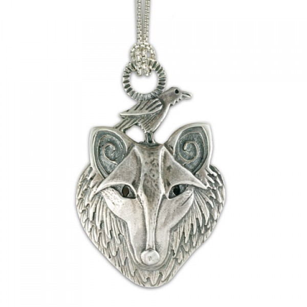 Wolf with Raven Pendant on Chain
