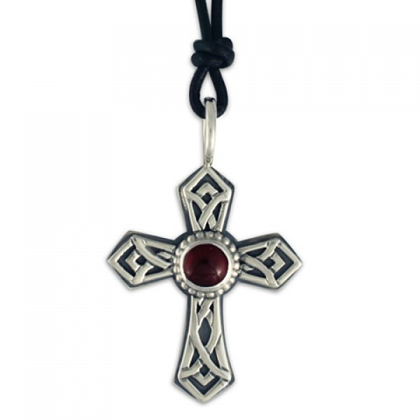 Pictish Cross with Gem on Leather