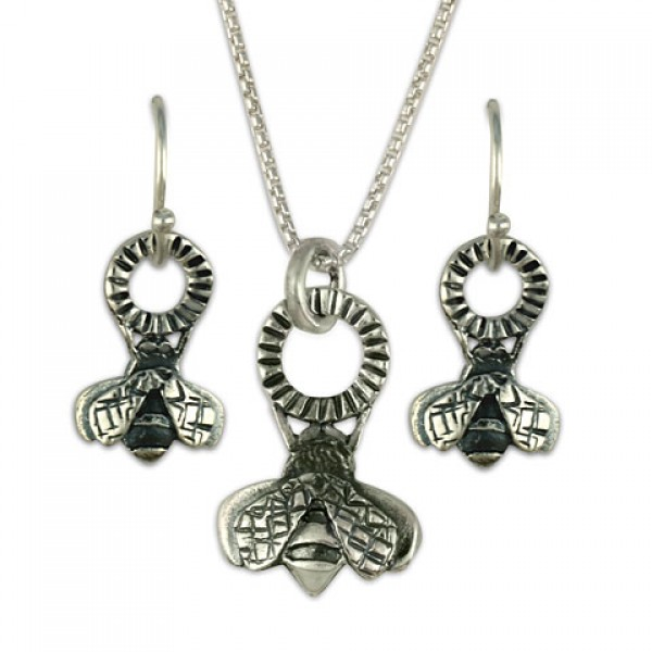 Bee Earring and Pendant Set