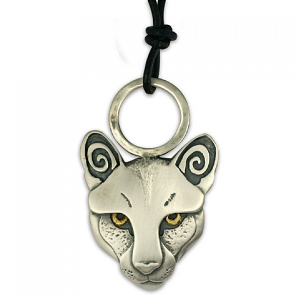 Mountain Lion Pendant with Gold Eyes