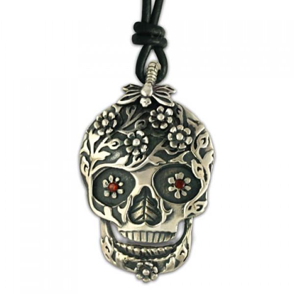 Flora Skull Silver Pendant