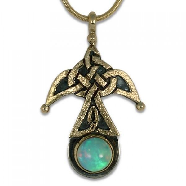 Swallow Pendant with Opal (Medium)