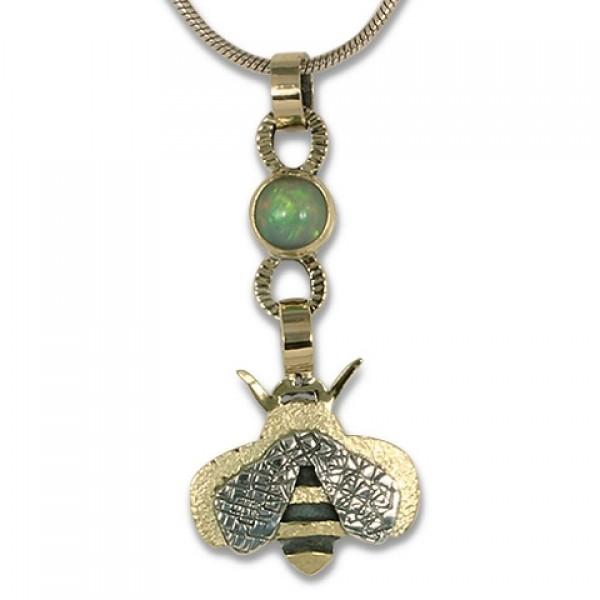 Bee Pendant with Ethiopian Opal