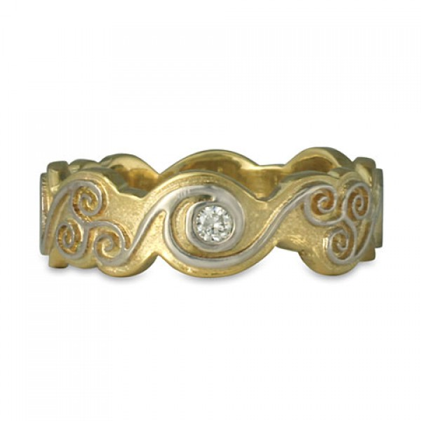 Triscali with Diamonds Ring Two Tone Gold