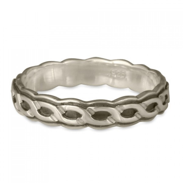 Borderless Rope Wedding Ring in Sterling Silver with Edge